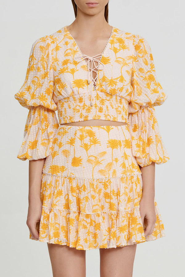 Significant Other Yellow Palm Patterned Cropped Top with Lace tie Detail, V-neckline, Elasticated Waist and Full Length Balloon Sleeves