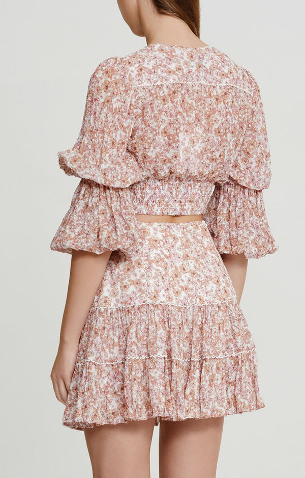 Significant Other Pink Floral Mini Skirt with Frill Hem - Back View