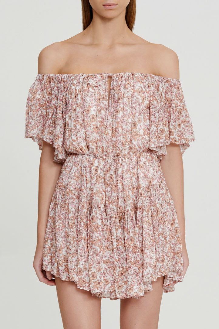 Significant Other Pink Floral Mini Dress with Off the Shoulder Neckline and Tie detail at waist