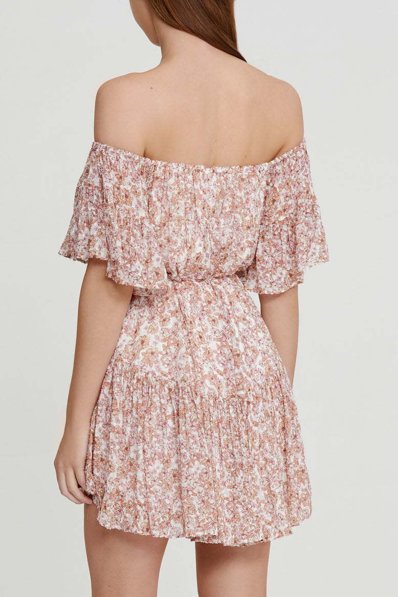 Significant Other Pink Floral Mini Dress with Off the Shoulder Neckline and Tie detail at waist - Back Detail