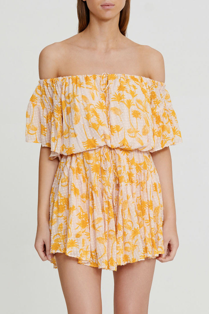 Significant Other Yellow Palm Patterned Mini Dress - Off the Shoulder Neckline with Tie Detail at Waist