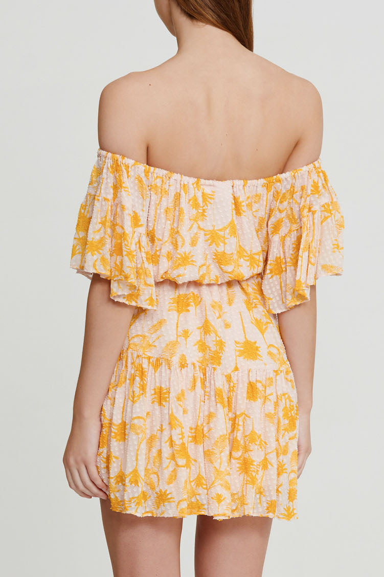 Significant Other Yellow Palm Patterned Mini Dress - Off the Shoulder Neckline - Back View