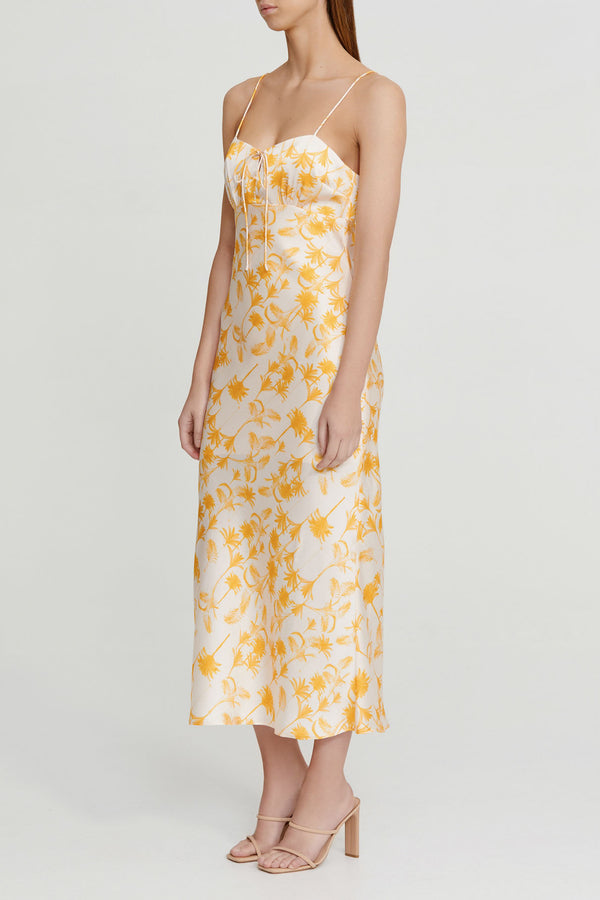 Significant Other Yellow Palm Patterned Midi Dress with Spaghetti Straps and Tie Detail Neckline