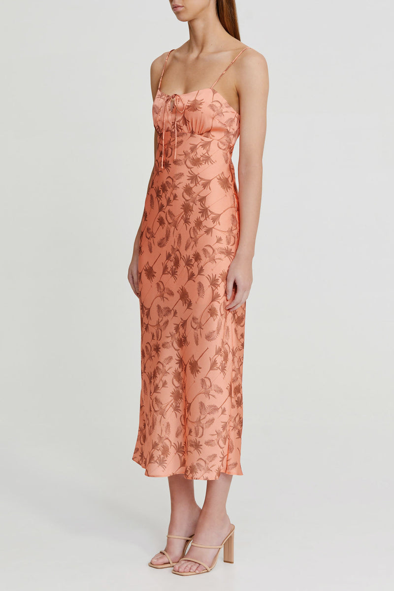 Significant Other Peach Midi Dress with Palm Pattern, Spaghetti Straps and Tie Detail Neckline