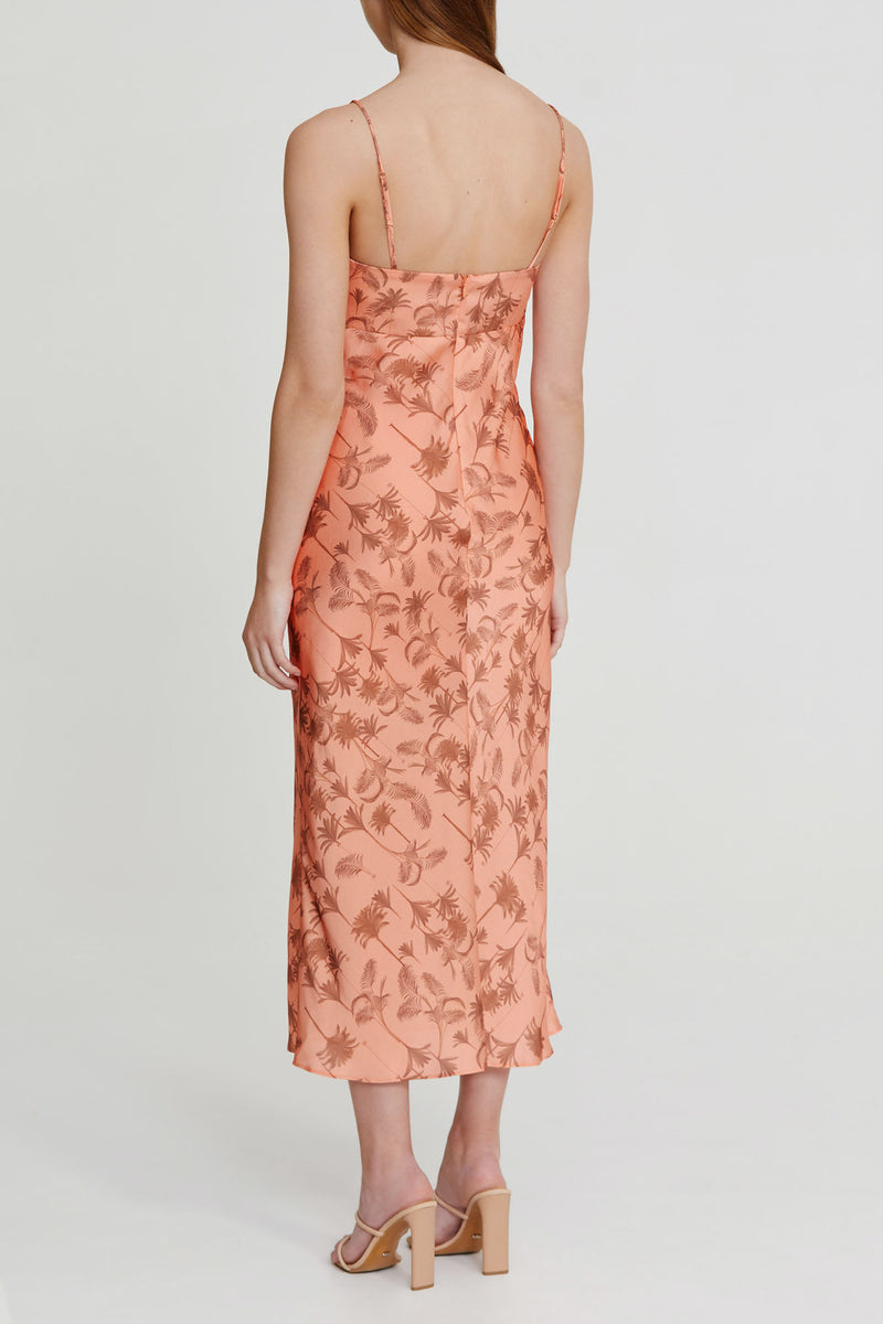 Significant Other Peach Midi Dress with Palm Pattern, Spaghetti Straps and Tie Detail Neckline - Back View