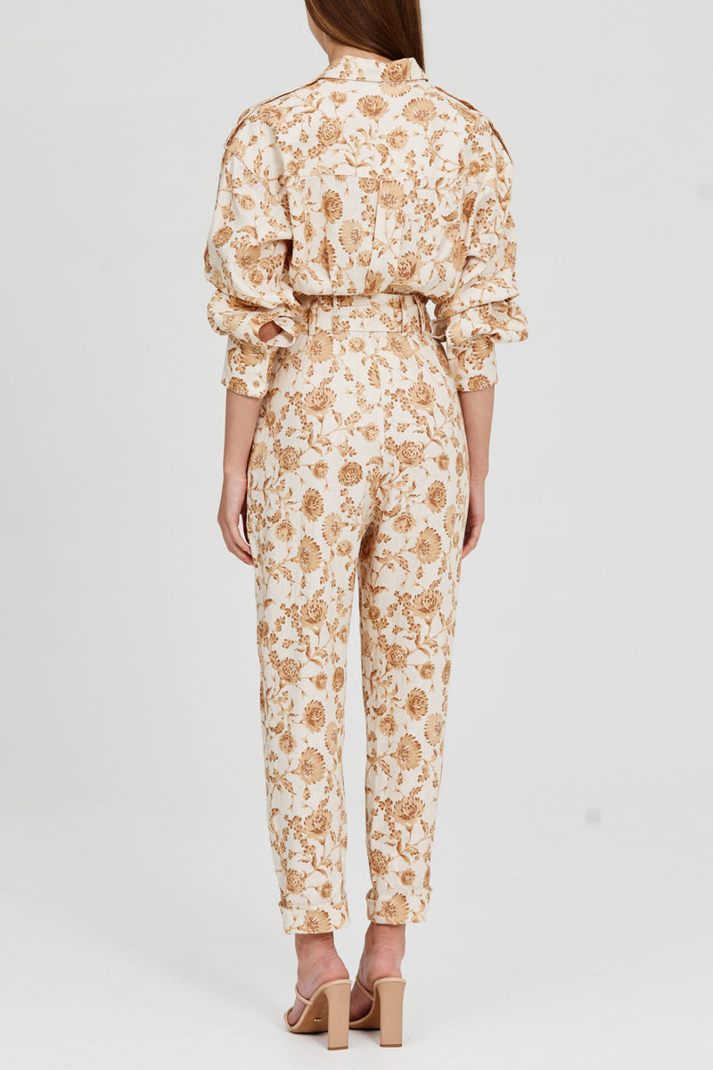 Long Sleeved, Straight Leg Pantsuit with Four Oversized Pockets and Belted Waist Detail