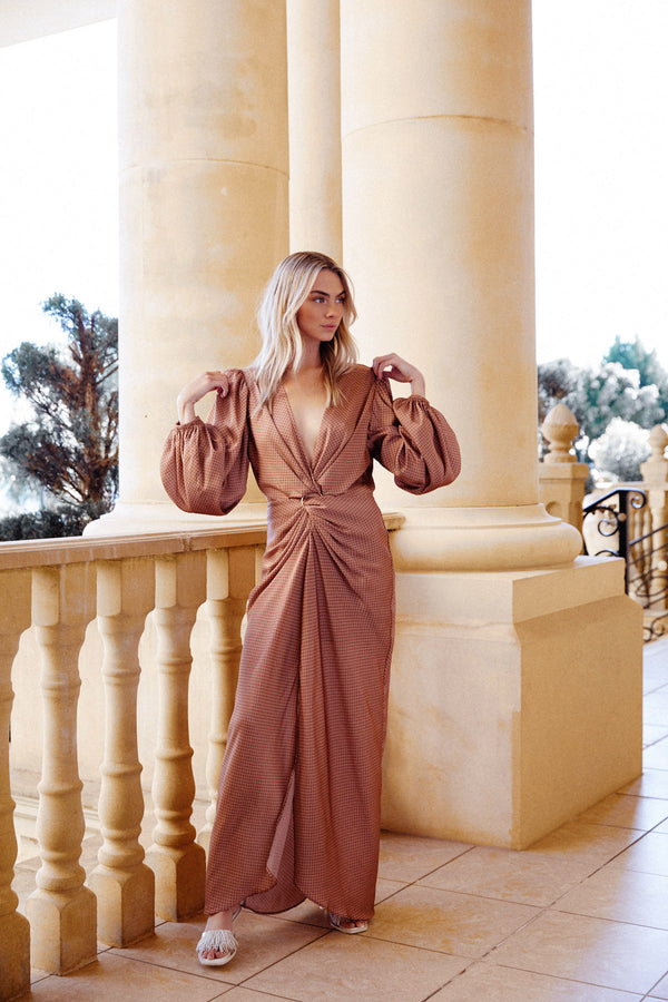Significant Other Chocolate Brown Maxi Dress with V-neckline, Twist Waist Detail and Balloon Long Sleeves