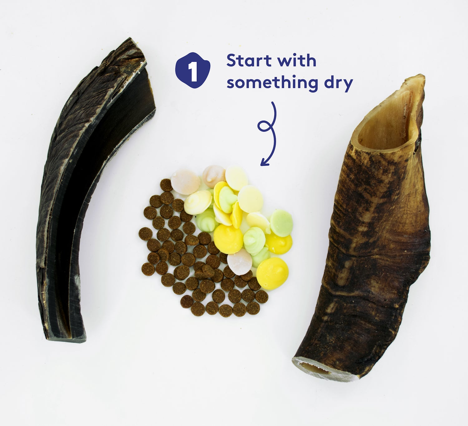 Two goat horns on a white surface, with yoghurt drops and dry dog food sitting between them. Text reads '1. Start with something dry'.