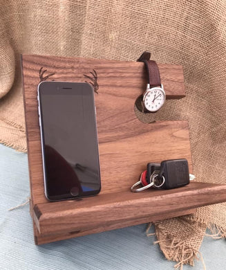 Men's Valet - Phone Docking Station - Walnut