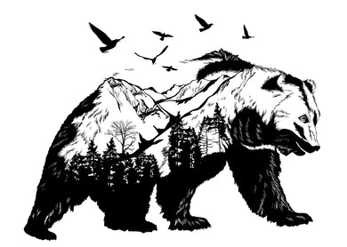 Black Bear with Mountain Scene
