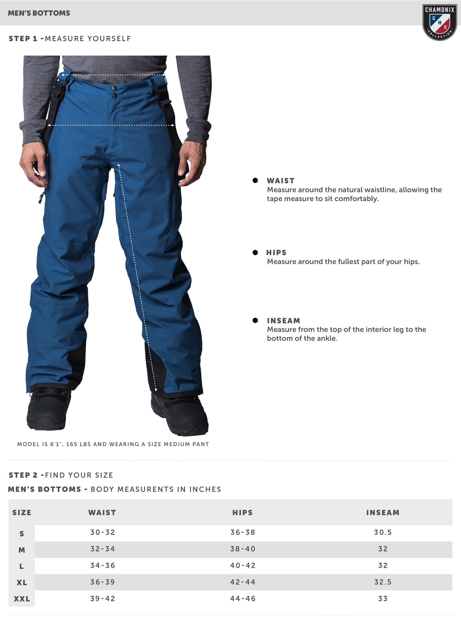 Mens Pants Size Chart