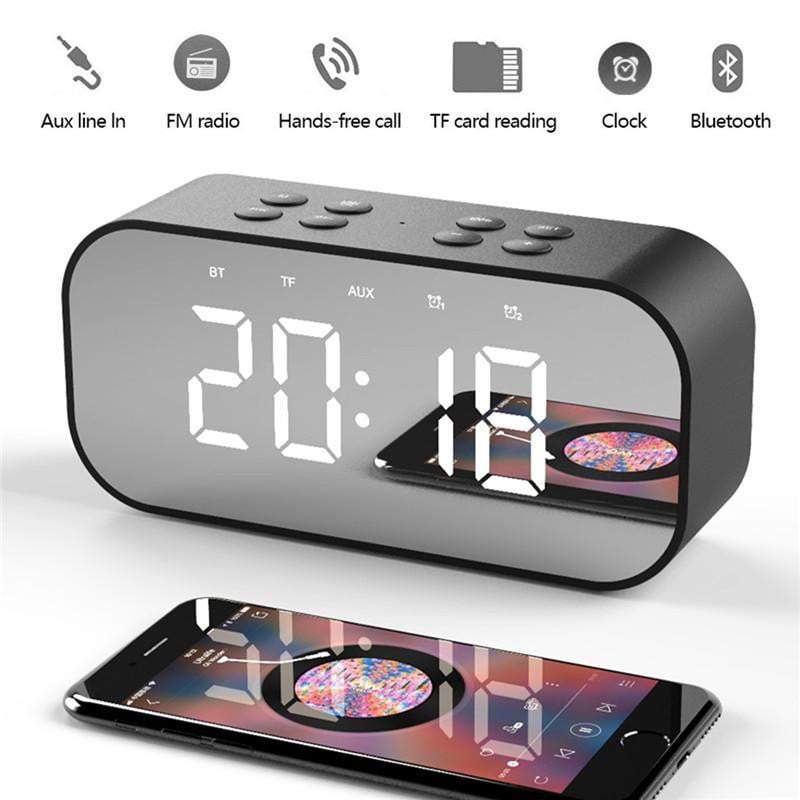 Portable Wireless Bluetooth Speaker and Alarm Clock with Mirror Display🔶 - EliteOfferingsNow.com