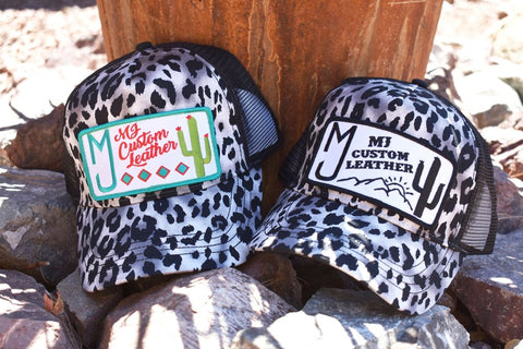 MJ Custom Leather Logo Hats!!(Black and White Cheetah)