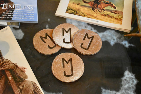 Custom Cowhide coasters