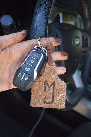 Custom Cowhide Cattle Tag keychain