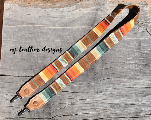 Arizona Sunset Serape and leather Camera Strap