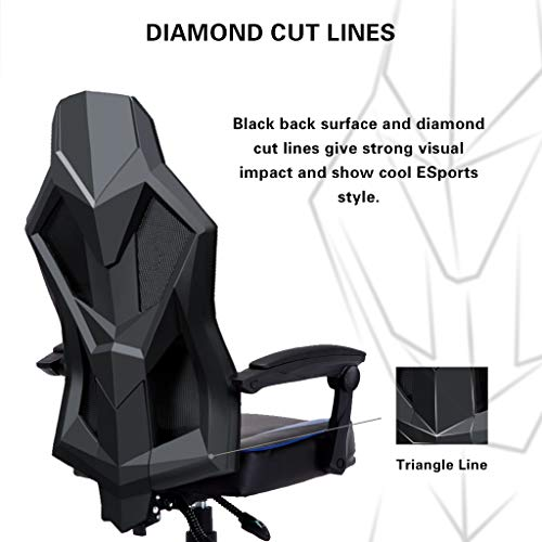 Astounding Uomax Gaming Chairs Ergonomic Computer Chair For Gamers Reclining Racing Chair With Led Lights Armrests And Lumbar Cushion Blue Ncnpc Chair Design For Home Ncnpcorg