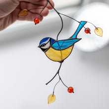 Load image into Gallery viewer, Blue stained glass chickadee sitting on the branch suncatcher