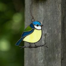 Load image into Gallery viewer, Stained glass blue chickadee sitting on the branch