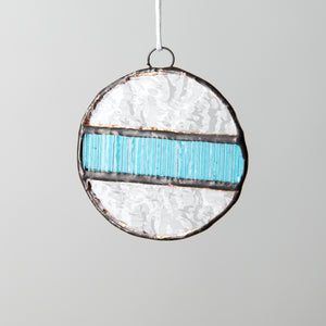 Stained glass snowball suncatcher for Christmas decor