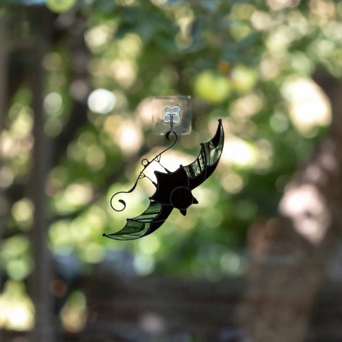 Halloween stained glass black bat window hanging