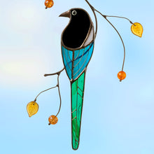 Load image into Gallery viewer, Stained glass magpie with long tail sitting on a branch suncatcher