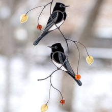 Load image into Gallery viewer, Two Black Phoebe birds stained glass suncatcher