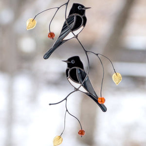 Two Black Phoebe birds stained glass suncatcher