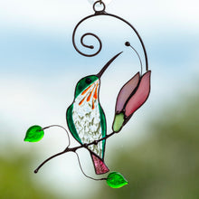 Load image into Gallery viewer, Hummingbird sitting on the branch with pink flower stained glass suncatcher for window decoration
