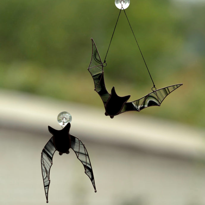 Set of Halloween stained glass bat suncatchers with clear wings