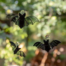 Load image into Gallery viewer, A set of three stained glass vampire bats Halloween suncatchers