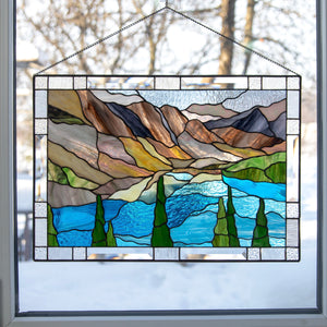 Stained glass Banff national park panel for wall