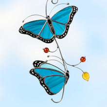 Load image into Gallery viewer, stained glass suncatcher of Blue Morpho butterflies on the branch  Edit alt text