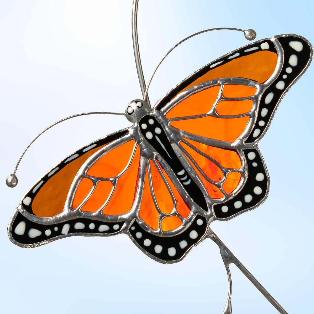 Flying on the branch monarch butterfly suncatcher made of stained glass