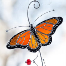 Load image into Gallery viewer, Zoomed stained glass monarch butterfly window hanging