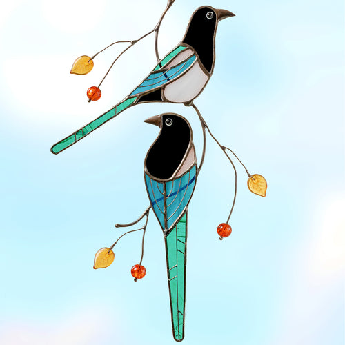 Two magpies on the branch stained glass bird suncatcher  Edit alt text