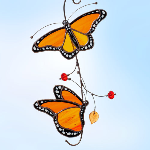 two Monarch butterflies stained glass decor  Edit alt text