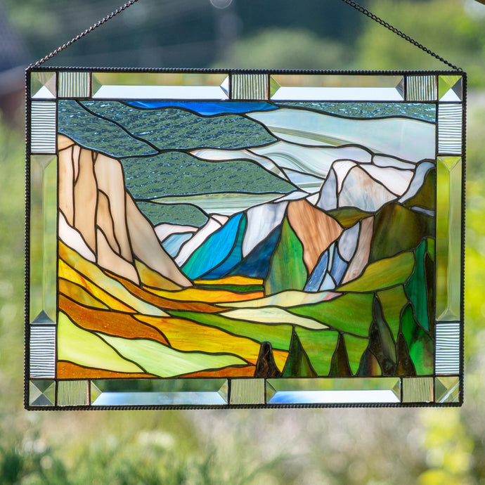 Yosemite national park Sierra Nevada California panel of stained glass for window