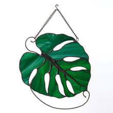 Load image into Gallery viewer, Stained glass monstera leaf suncatcher for window