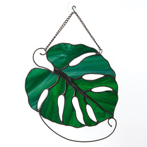 Stained glass monstera leaf suncatcher for window