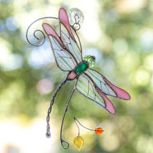 Load image into Gallery viewer, Stained glass pink dragonfly sitting on the branch window hanging