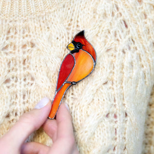 Red winter bird stained glass accessory