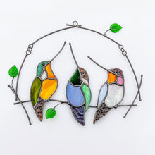 Load image into Gallery viewer, Three stained glass hummingbirds on the horizontal branch window hanging