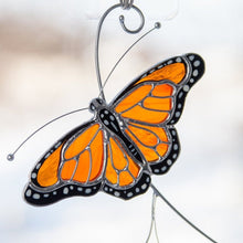 Load image into Gallery viewer, Zoomed monarch butterfly stained glass suncatcher