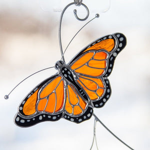 Flying Monarch butterfly stained glass suncatcher