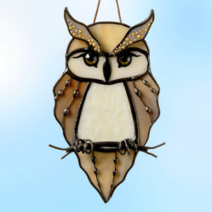 Stained glass great horned owl suncatcher for window decoration