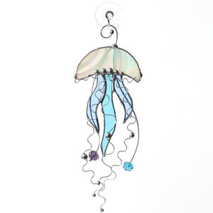 Jellyfish with blue tentacles suncatcher of stained glass