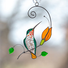 Load image into Gallery viewer, Sitting on the branch hummingbird window hanging