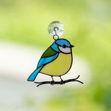Load image into Gallery viewer, Blue chickadee sitting on the branch window hanging