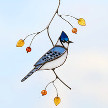 Load image into Gallery viewer, Stained glass bluy jay bird suncatcher for window decoration